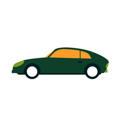 green sport sedan car side view in flat style vector image