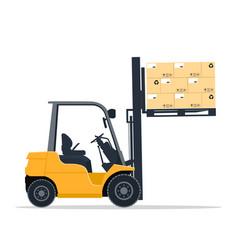 industrial forklift design lifting cardboard boxes vector image