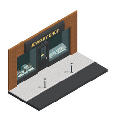Jewelry shop isometric composition vector