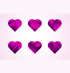 love hearts icons logo set vector image