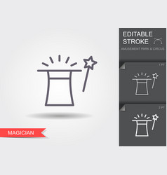 magic hat and wand line icon with shadow and vector image
