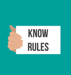 Man showing paper know rules text vector