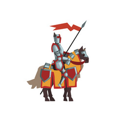 medieval knight in shiny armor brave royal vector image