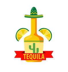 mexican tequila bar icon template bottle vector image