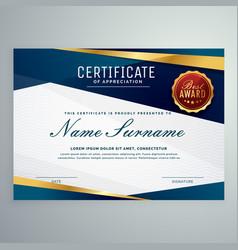 Modern blue and golden certificate template vector