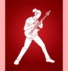 musician playing electric guitar music band vector image