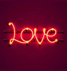neon text love signboard on the red background vector image