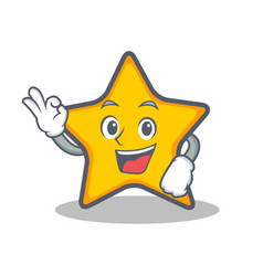 okay star character cartoon style vector image