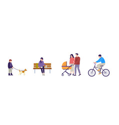 people walking couple with stroller are walking vector image