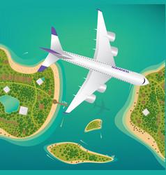 Plane flies over a few tropical islands vector