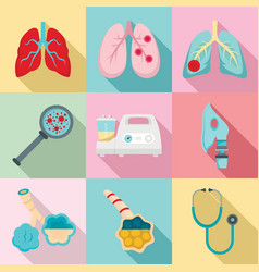 Pneumonia icon set flat style vector