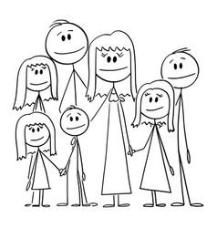 portrait big happy family with five children vector image
