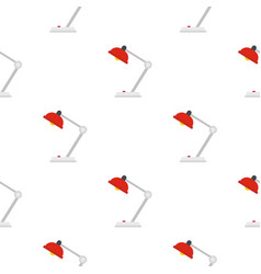 Red desk lamp pattern flat vector