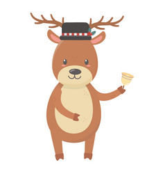 reindeer with hat and bell celebration merry vector image