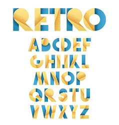 Retro font in blue and yellow Beige alphabet vector