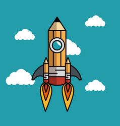 Rocket pencil flying icon vector