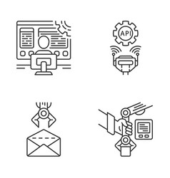 Rpa linear icons set vector