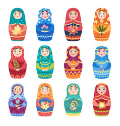 Russian dolls authentic traditional toys vector