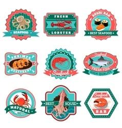 Seafood emblems set vector