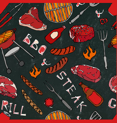 Seamless pattern of summer bbq grill party steak vector