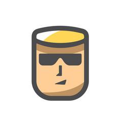 security man in black glasses cartoon vector image