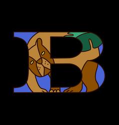 Serif alphabet letter b with doodle bear vector