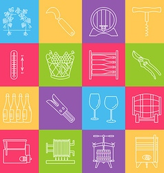 Set of winemaking wine tasting icons vector