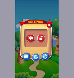 settings mobile game user interface gui assets vector image