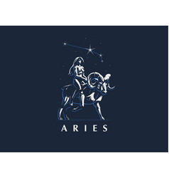 Sign of the zodiac aries the girl rides on ram vector