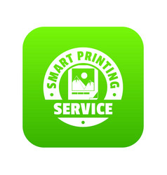 Smart printing service icon green vector