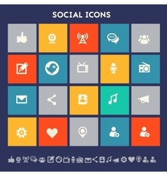 Social icon set Multicolored square flat buttons vector