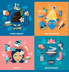 spa treatments 4 flat icons vector image