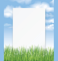 Summer outdoor background with sheet of paper vector