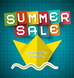 Summer Sale Paper Cut Letters with Origami Boat on vector image