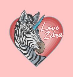 valentine zebra mascot cartoon colorful vector image