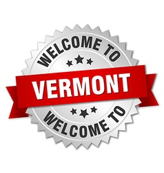 Vermont 3d silver badge with red ribbon vector
