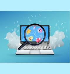 virus found on a broken laptop vector image