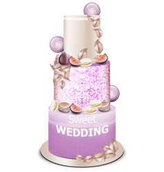 wedding cake delicious dessert with fruits vector image