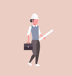 Woman architect in helmet holding rolled up vector