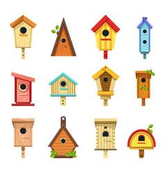 wooden birdhouses creative design to hang vector image