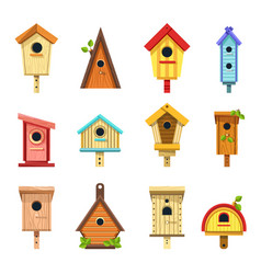 Wooden birdhouses of creative design to hang on vector