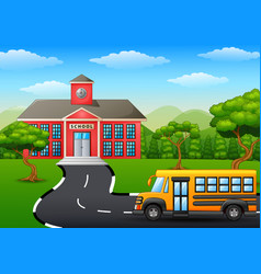 Yellow school bus in front of school building vector