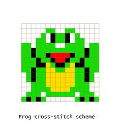 cross-stitch pixel art frog animals set vector image vector image