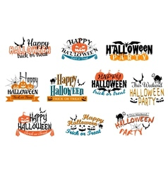 Different party Halloween designs vector image