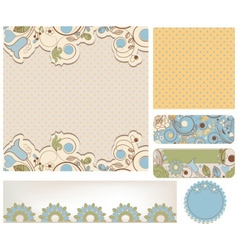 Retro wedding backgrounds floral and dots patterns vector image