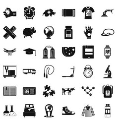 swiss science icons set simple style vector image vector image