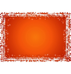 Christmas red background with border of snowflakes vector image vector image