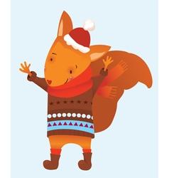 Christmas squirrel vector image vector image