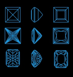 Collection of different shapes of a gemstone vector image vector image