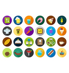 Diner round icons set vector image vector image